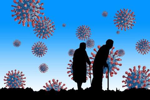 Grafik Viren und Senioren-Paar
