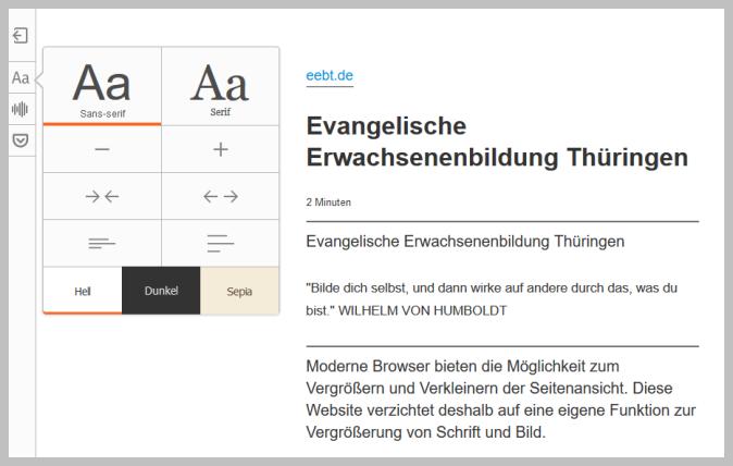 Lese-Ansicht Browser Firefox