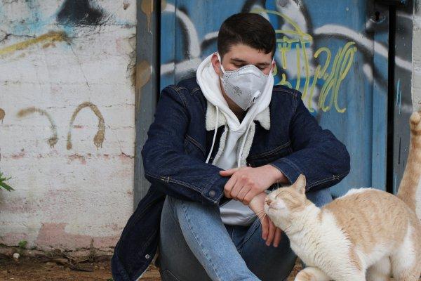 Jugendlicher mit Maske und Katze