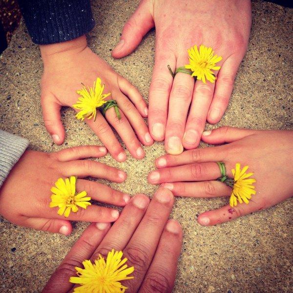 Familien-Hände im Kreis mit Blumen